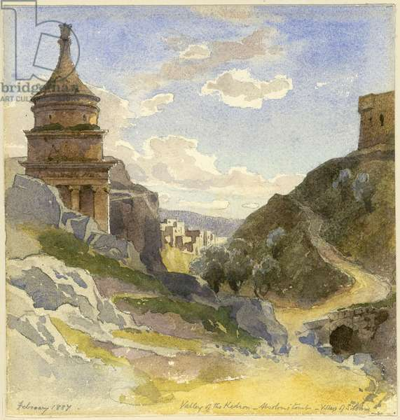 Valley of Kedron, Absalom's Tomb - Village of Siloam, February 1887 (w/c on paper)