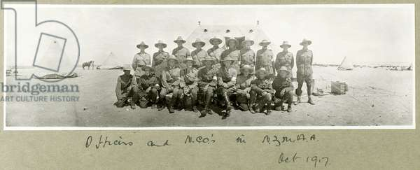 Officers and NCOs in N.Z.M.A.A., October 1917 (b/w photo)