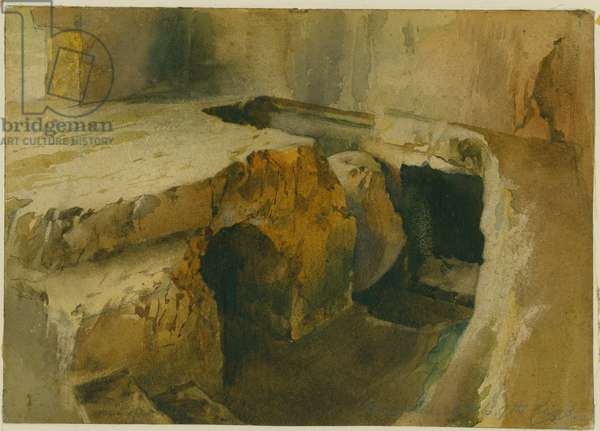 A rolling stone at Tombs of the Kings (w/c on paper)