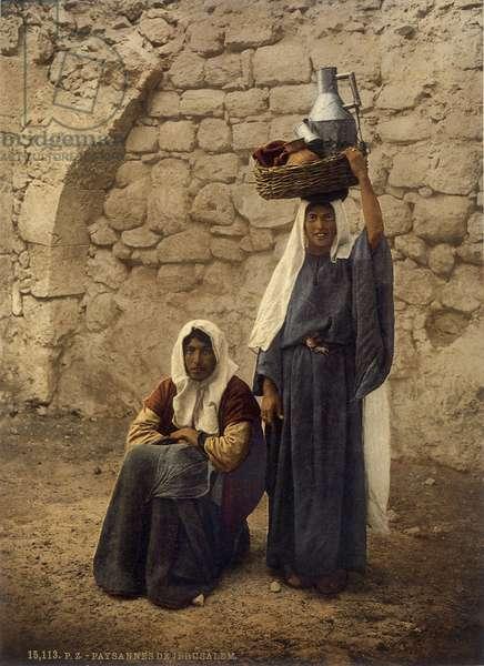Arab women carrying milk jars, Jerusalem, c.1880-1900 (photochrom)