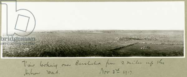 View looking over Beersheba from two miles up Hebron Road, 3rd November 1917 (b/w photo)