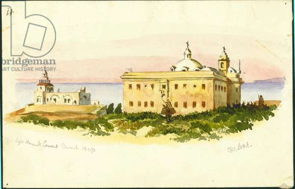 Light House and Convent, Carmel, 1873 (w/e & pencil on paper)