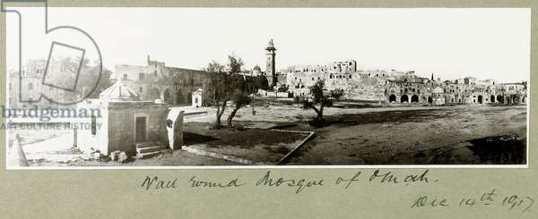 Wall around the Mosque of Omah, 14th December 1917 (b/w photo)
