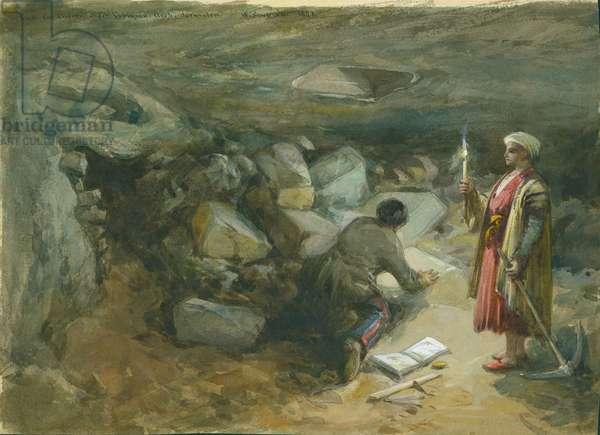 Rock-Cut Cistern under Robinson's Arch, Jerusalem, 1871 (w/c & pencil on paper)