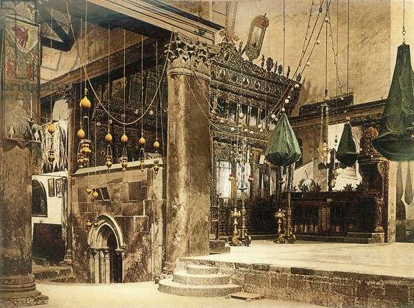 Interior of the Church of the Nativity, Bethlehem, c.1880-1900 (photochrom)