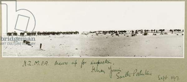 N.Z.M.F.A. drawn up for inspection, Khan Yunis, September 1917 (b/w photo)