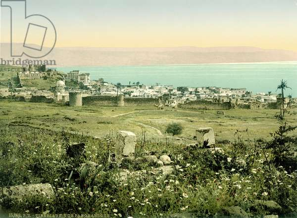 View of Tiberias from the South, c.1880-1900 (photochrom)