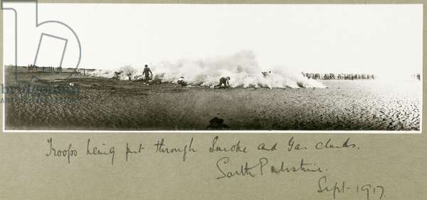 Troops being put through smoke and gas cloud, South Palestine, September 1917 (b/w photo)