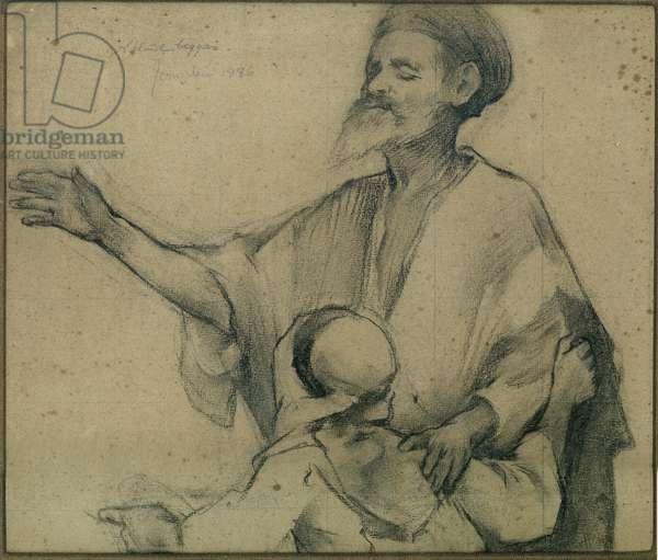 Blind Beggar, Jerusalem, 1886 (charcoal on paper)