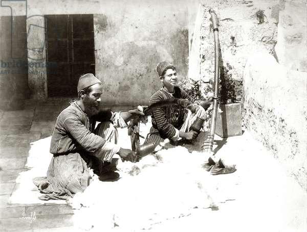 Wool carders in Jerusalem, c.1867-81 (b/w photo)