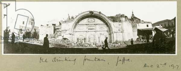 Old drinking fountain, Jaffa, 2nd December 1917 (b/w photo)