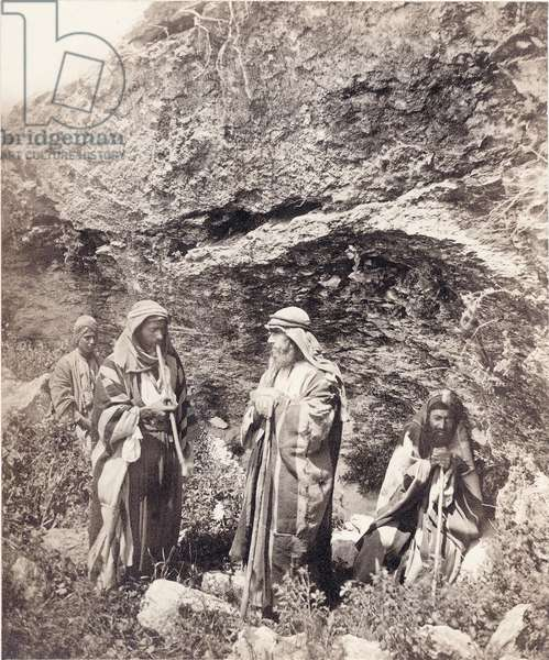 Peasants from the area of Jerusalem, c.1866-67 (b/w photo)