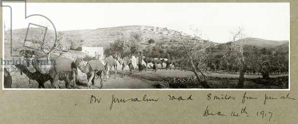 On Jerusalem Road, 8 miles from Jerusalem, 14th December 1917 (b/w photo)