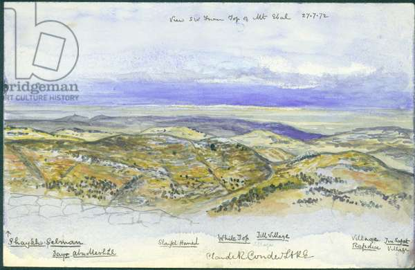 View from South West from the top of Mount Ebal, 1872 (w/c & pencil on paper)
