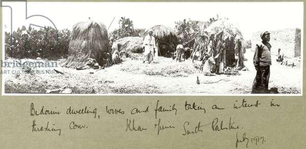 Bedouin family and dwelling, Khan Yunis, July 1917 (b/w photo)