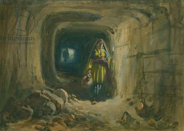 Subterranean Passage to Fountain of the Virgin, Jerusalem, 1869 (w/c & pencil on paper)
