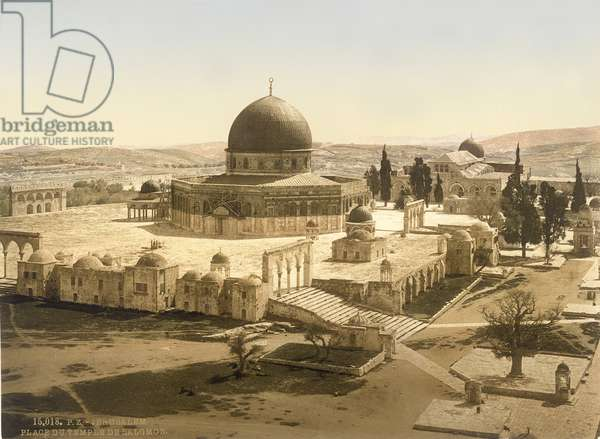 View of the Temple Mount with the Dome of the Rock and the El Aqsa Mosque, Jerusalem, c.1880-1900 (photochrom)