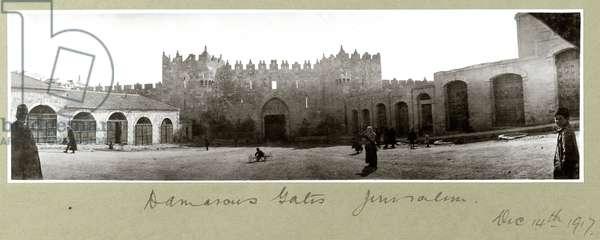 Damascus Gate, Jerusalem, 14th December 1917 (b/w photo)