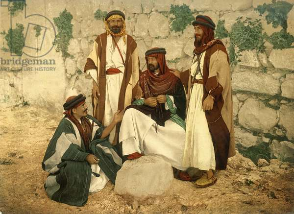 Group of peasants in discussion at Siloam, Jerusalem, c.1880-1900 (photochrom)