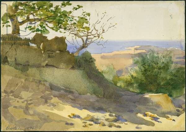 From Aleh, Looking down to Beirut, October 1896 (w/c on paper)