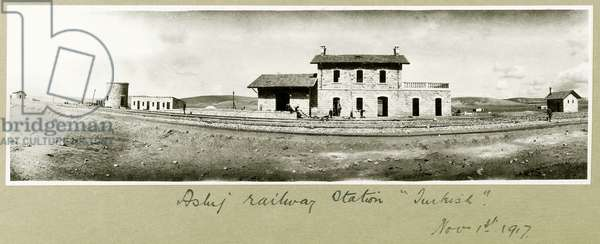 Asluj Railway Station, 1st November 1917 (b/w photo)