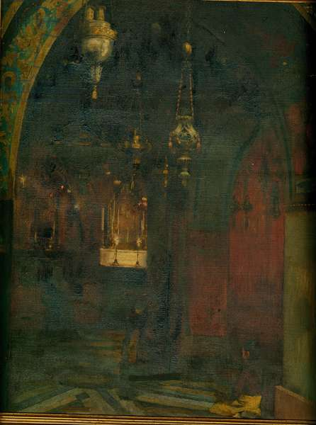 Interior of the Church of the Holy Sepulchre, Jerusalem (oil on canvas)