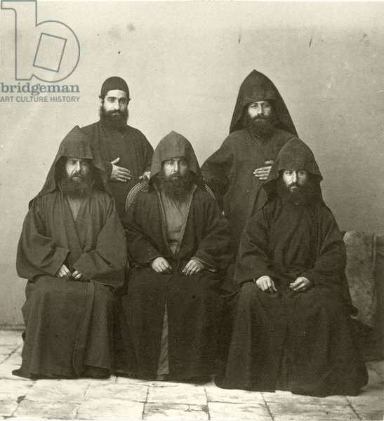 Group of 5 Armenian priests in the courtyard of the Mediterranean Hotel, Jerusalem, 1867 (b/w photo)