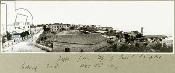 Jaffa from the top of the French hospital looking West, 2nd December 1917 (b/w photo)