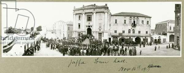 Jaffa Town Hall, 16th November 1917 (b/w photo)