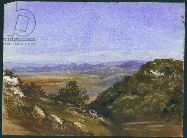 The Mahrakah and view over the plain to Jezreel, 1872 (w/c & pencil on paper)