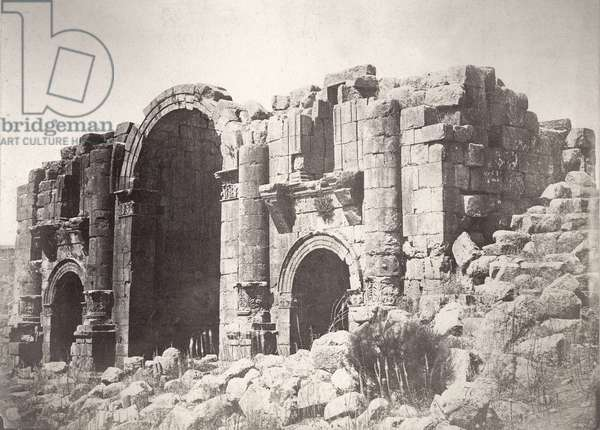 Triumphal arch at Jerash, from the south, 1875 (b/w photo)