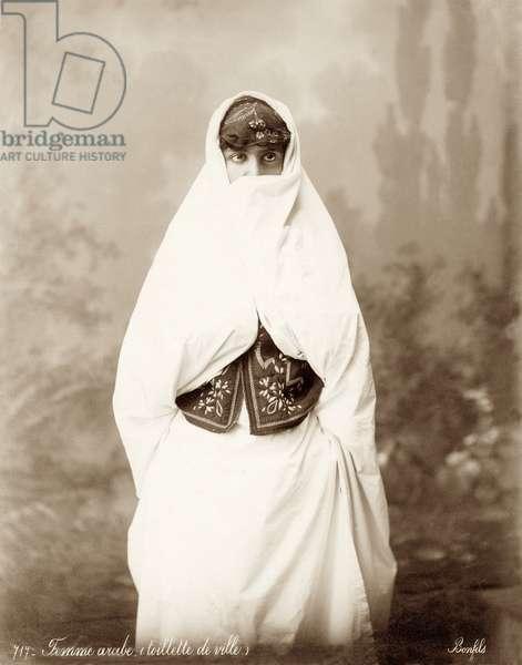 Woman wearing Palestinian costume, c.1867-98 (b/w photo)