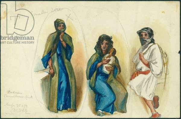 Bedouin Charcoal Burners, Mount Carmel, near Haifa, 1873 (w/c & pencil on paper)