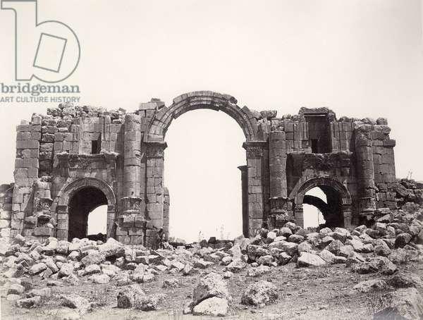 Hadrianic arch at Jerash, 1867 (b/w photo)