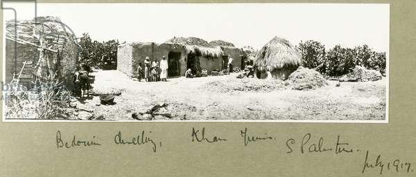 Bedouin dwelling, Khan Yunis (b/w photo)