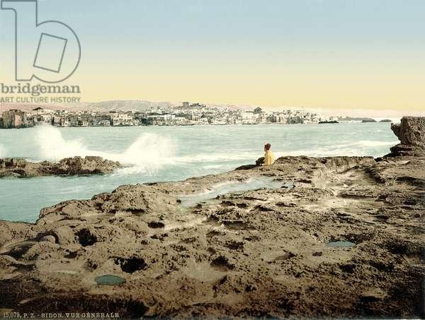 View of Sidon, c.1880-1900 (photochrom)