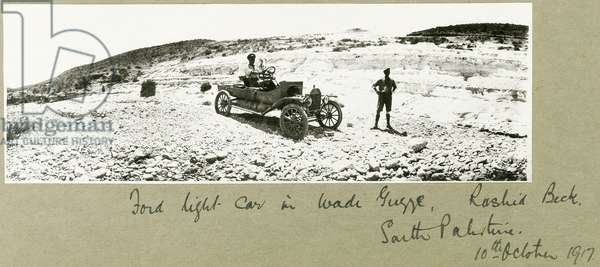 Ford light car in Wadi Guzzeh, Rashid Beck, South Palestine, October 1917 (b/w photo)