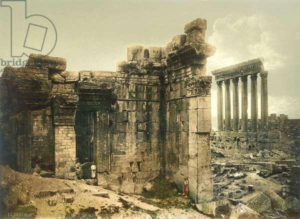 Temple of Jupiter doorway, Baalbek, c.1880-1900 (photochrom)