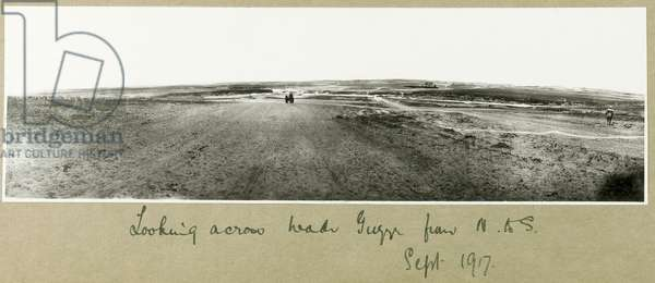 Looking across Wadi Guzzeh from North to South, September 1917 (b/w photo)