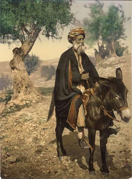 Arab man from Bethlehem on his donkey, c.1880-1900 (photochrom)