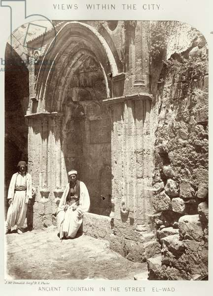Views within the city: Ancient fountain in the street El-Wad, c.1864-65 (b/w photo)
