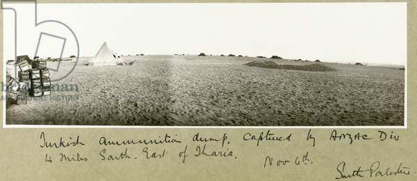 Turkish ammunition dump, captured by ANZAC Division, 4 miles south-east of Tharia, 6th November 1917 (b/w photo)