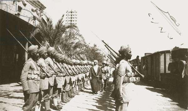 Emir Faisal at Lydda Station, Palestine, with Sir Herbert Samuel, 1920 (b/w photo)