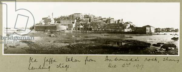 Old Jaffa taken from Andromeda's rock, 2nd December 1917 (b/w photo)