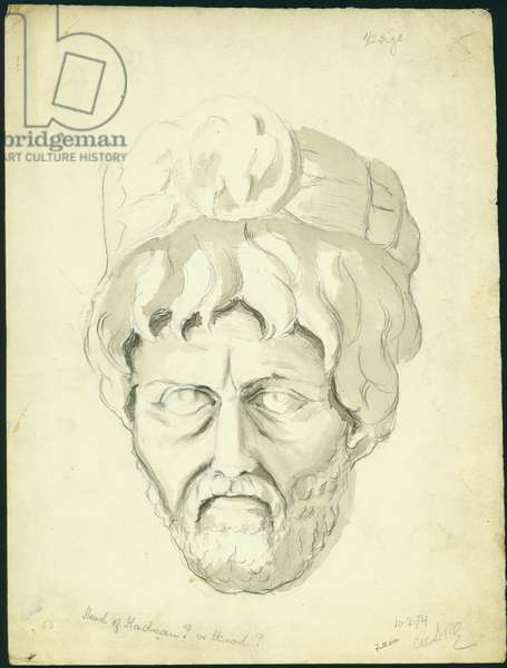 Head of a Man, 1874 (w/c & pencil on paper)
