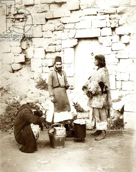 Coffee seller in Jerusalem, c.1867-81 (b/w photo)