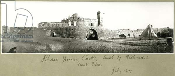 Front view of Khan Yunis Castle, built by Richard I, July 1917 (b/w photo)