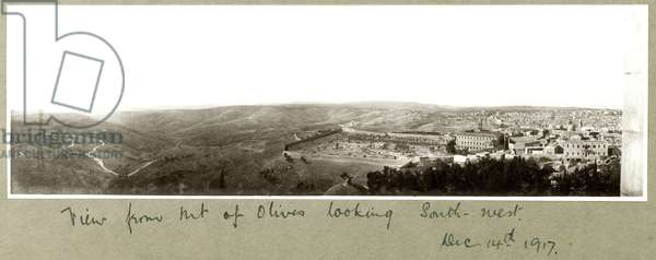 View from the Mount of Olives looking South West, 14th December 1917 (b/w photo)