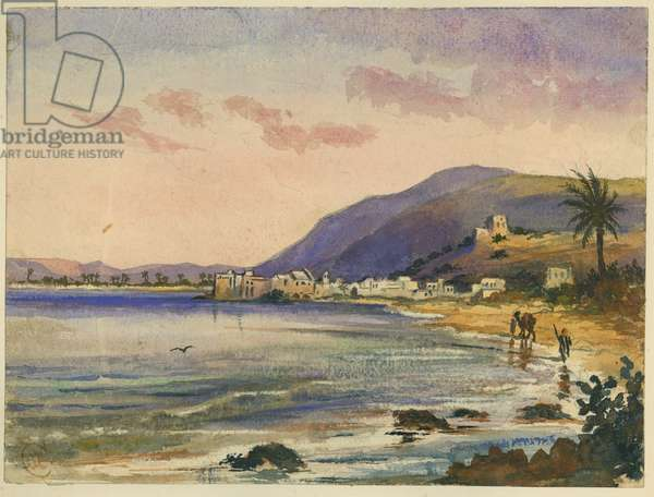 Haifa with Carmel Ridge behind (w/c & pencil on paper)