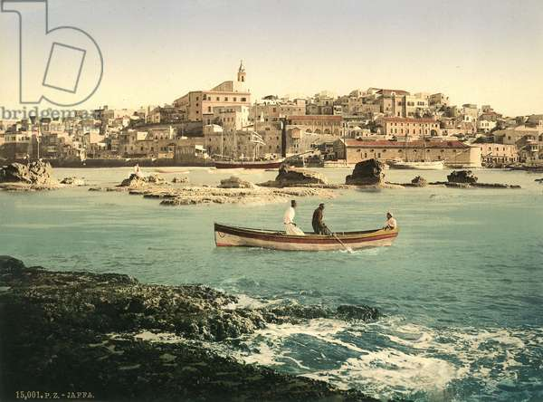 Harbour of Jaffa with the town in the background, c.1880-1900 (photochrom)